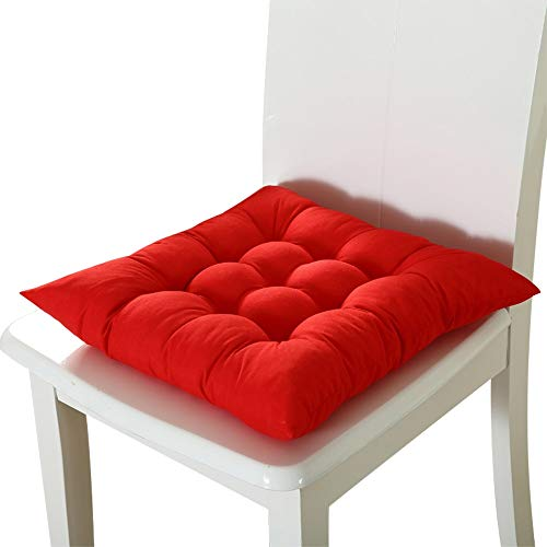 Square Solid Color Chair Pad Cushion, Full-length Ties For Non-slip Support, For Dining Patio Office Outdoor Sofa Buttocks Cushion 55x55cm red