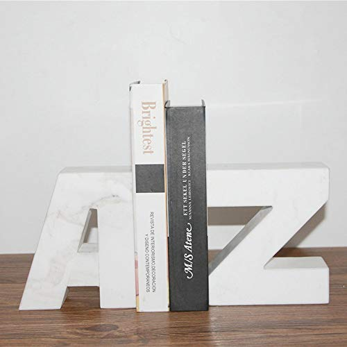 XFSE Decoración para el hogar moderna simple de mármol blanco alfabeto Bookend Revistero estante de la sala de estar TV gabinete dormitorio hotel cafetería escritorio decoración 26 * 5 * 16 cm