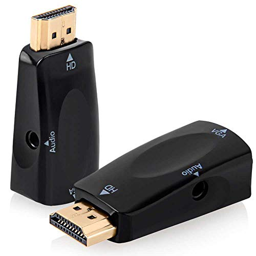 OcioDual Mini Cable Adaptador Convertidor HDMI Macho a VGA Hembra TV Audio Jack Full HD