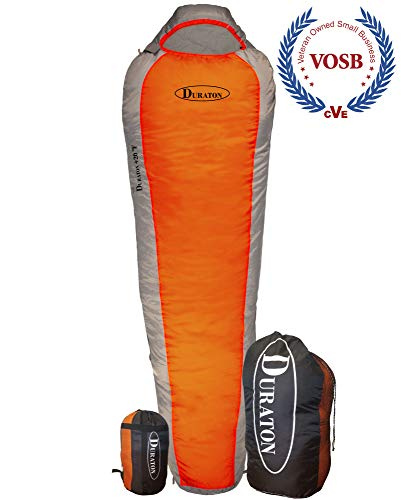 Duraton Mummy Sleeping Bag 20 Degree Weather, Lightweight with Compression Sack for Camping or Backpacking, Warm for Both Adults and Kids (Orange)