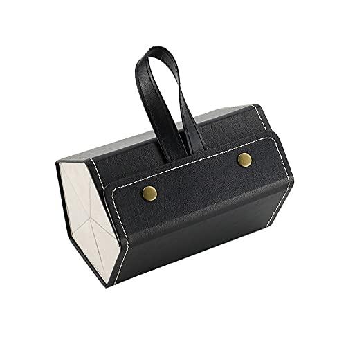 FACHA Caja de gafas de sol de cuero con varias ranuras para guardar gafas de sol de viaje, caja plegable (color: negro, tamaño: 17 x 11,7 x 11,7 cm)