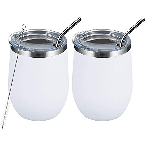 Nsdsb Vaso De Vino De Acero Inoxidable Taza De Cáscara De Huevo con Aislamiento Al Vacío De Doble Pared White355Ml