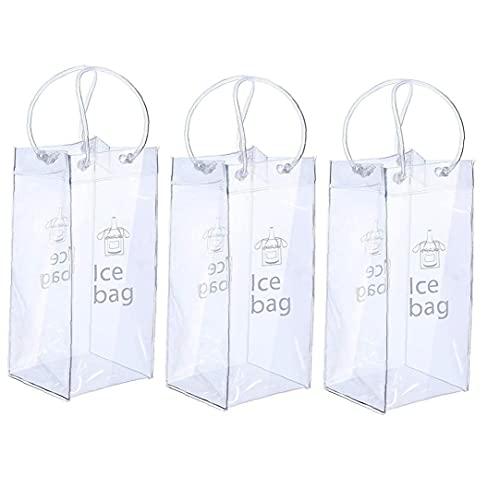 La bolsa de hielo para el vino plegable Claro vino de hielo Cubo con la manija para Pubs Restaurantes Inicio 3PCS transparentes, bolsa de almacenamiento
