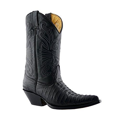 Smart Range Grinders Carolina CROC Bottes en cuir noir à motif crocodile et bottes de cowboy (Mens UK 9 / EU 43)