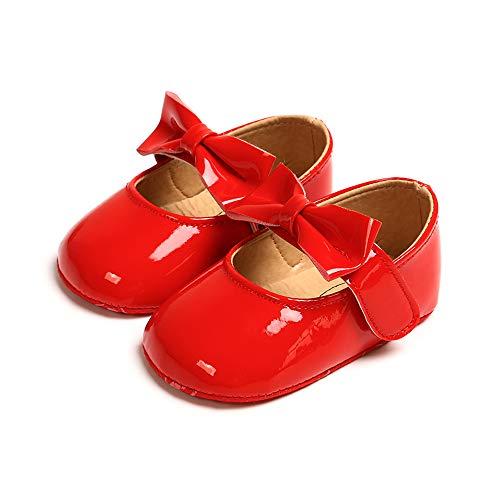 MASOCIO Baby Mädchen Prinzessin Bowknot Schuhe Kleinkind Anti-Rutsch Party Ballerinas Schuhe Rot 12-18 Monate