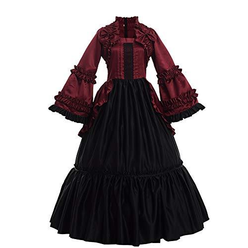 GRACEART Damen Langarm Renaissance Mittelalter Kleid Gothic Viktorianischen Königin Kleid Kostüm (L, Weinrot)
