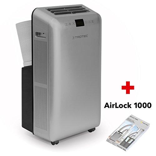 TROTEC Lokale Klimaanlage PAC 3550 Pro mit 3,5 kW (12.000 Btu), EEK A zugfreie Kühlung des Raumes dank Zweischlauchtechnik, Inkl. AirLock 1000