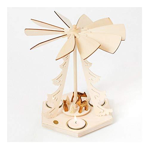Colours-Manufaktur Weihnachtspyramide aus dem Erzgebirge mit Teelichtern * Modell: Rehe *