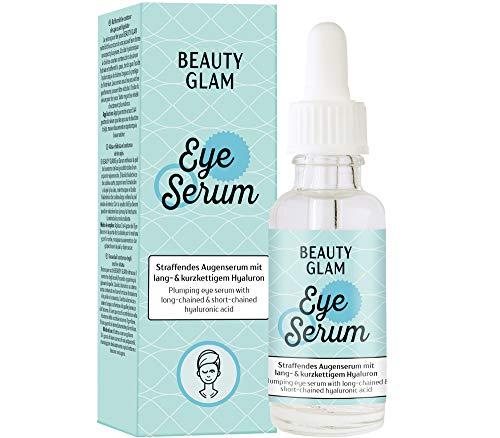 Beauty Glam – Eye Serum – Straffendes Augenserum mit Hyaluronsäure – mindert Schwellungen und Augenringe – Vegan, silikonfrei, ohne Farbstoffe, ohne Parfum, Made in Germany - 30 ml