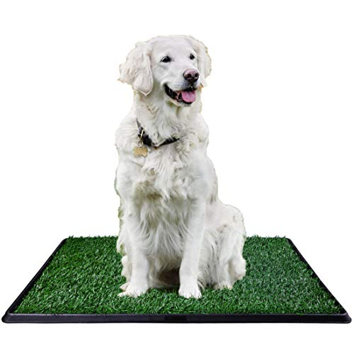 CHIFONG Portable Dog Potty Indoor/Outdoor/Bathroom. Dog Home Training Toilet Relief System. Grass Surface Dog Mat, Bite Resistant Turf Patch, Large Artificial Grass Turf 30