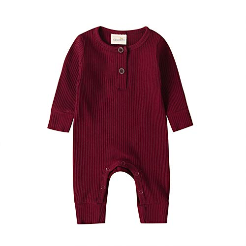 Baby Jungen / Mädchen Strick-Strampler / Overall / Bodysuit / Einteiler / Pyjama, Gerippte Outfit Kleidung Gr. 56, weinrot