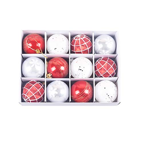 Hunpta @ 12 Stück Weihnachtskugeln Weihnachtsdeko Set 6cm Rot Weiß Gold Mode Gemalt Christbaumkugeln DIY Weihnachtsbaum Deko Hängende Anhänger Ornamente & Christbaumschmuck