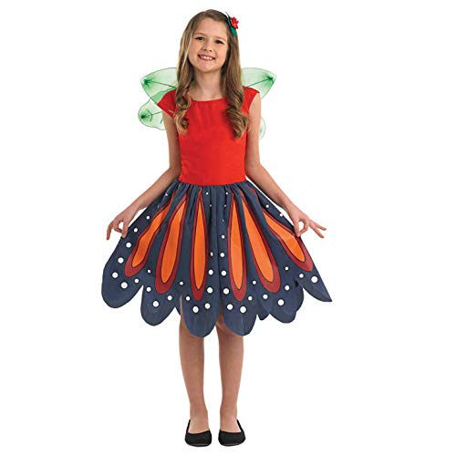 Fun Shack Rotes Feen Kostüm für Mädchen, Waldfee Kostüm Kinder - S