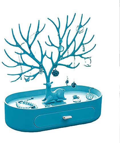 VWJFHIS Schmuckständer Ohrring Box Baumständer Lagerregal Fach Halskette Uhrenarmband 10,23 * 9,64 * 4,92 Zoll(Color:Blue)