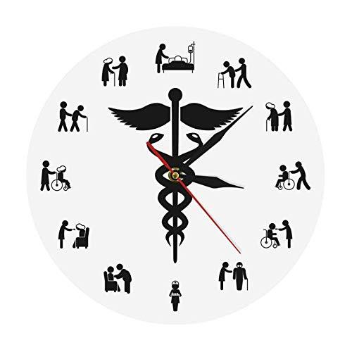 LISH Reloj de Pared Creativo Negocio de la Enfermera Reloj de Pared Caduceus Decoración para el Hogar Enfermera de la Pared de la Pared Reloj de Pared Silencioso sin Ms sin Marcar N