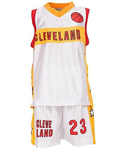 24brands - Jungen Sport Basketball Baseball Shirt Trainings Trikot Teamfarben Chicago Boston Trikot - 2942, Größe:104-110;Farbe:Cleveland