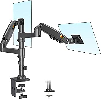 NB North Bayou Dual Monitor Arm Monitor Stand Desk Mount Height Adjustable VESA Bracket for 17 to 27 Inch Computer Screen - Holds up to 19.8lbs for Each Monitor with C Clamp Grommet Base H160-B