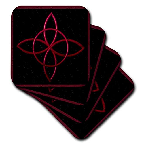 3dRose cst_162097_3 A Celtic Design Knot in Magenta-Ceramic Tile Coasters, Set of 4