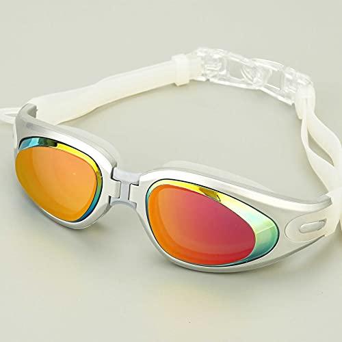 N\C Gafas de natación, marco grande, silicona antiniebla, gafas de natación con tapones para los oídos, galvanizado, antiultravioleta, gafas de natación para adultos plateadas