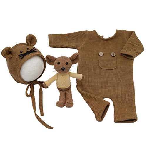 DERCLIVE Conjunto de 3 piezas de accesorios para fotografía recién nacidos de punto mameluco de rata, para bebé y niña