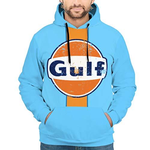 Herren Gulf Racing Retro Hoodies Originale mit Tasche Laufen Sweatshirt White 2XL