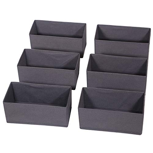 DIOMMELL 6 Pack Foldable Cloth Storage Box Closet Dresser Drawer Organizer Divider Fabric Baskets Bins Containers for Baby Clothes Underwear Bras Socks Lingerie Clothing,Dark Grey 060