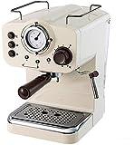 Máquina de café Máquina de café expreso semiautomática Cafetera de 15 bar Control de temperatura doble italiano Tipo de vapor Espumador de leche Retro Blanco Máquinas de café 220V Cocina casera chen