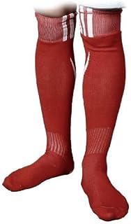 DealMux, Par Blanco de la Raya roja elásticos Calcetines de fútbol Medias para niños
