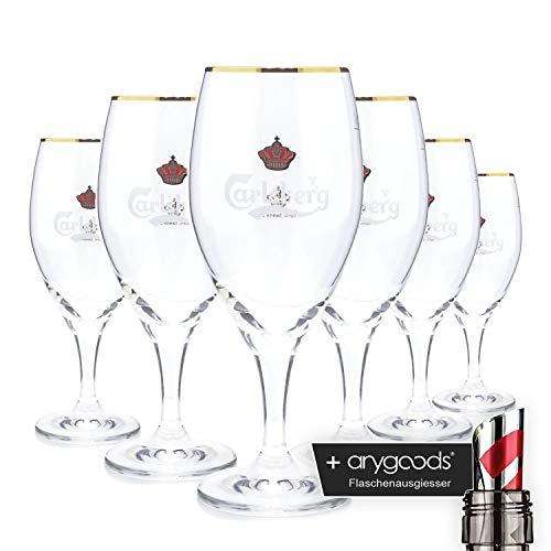 6 x Carlsberg Pokal 0,25l Glas/Gläser, Markenglas, Bierglas NEU + anygoods Flaschenausgiesser