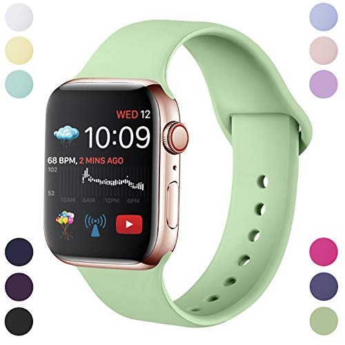 Hamile Cinturino Compatibile con Apple Watch 38mm 40mm, Cinturini Sportiva in Morbido Silicone di Ricambio per Apple Watch Series 5/4/3/2/1, M/L Menta Verde