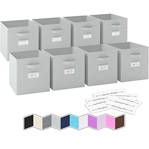 Ordnungsbox - 8 Boxen Aufbewahrung Set | Faltboxen Mit Zwei Tragegriffen & 10 Label Karten | Faltbare Kallax Boxen | Extra Stabile Stoffbox Als Kallax Einsatz | Kisten Aufbewahrung [Hellgrau]