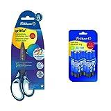 Pelikan 803502 Griffix Forbici Blu per Bambini, Impugnatura Ergonomica, per Destrimani, 14 cm + 24005722 Pelifix Colla Stick 10 g, Confezione Risparmio da 6 Pezzi, Asciugatura Rapida, Senza Solventi