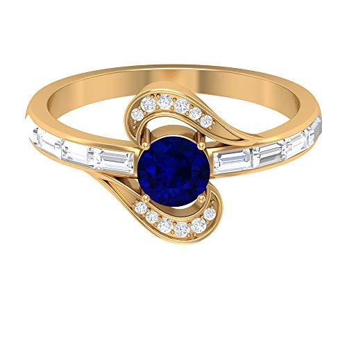 Anillo de compromiso de zafiro azul, piedras preciosas redondas de 1,11 quilates, anillo de promesa de solitario de 5 mm, anillo de diamantes baguette, 14K Oro amarillo, Size:EU 45