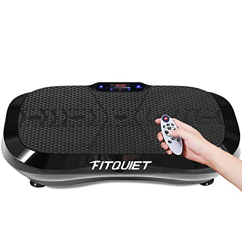FITQUIET Vibration Plate Exercise Machine with Loop Resistance Bands - Whole Body Workout Vibration Fitness Platform Home Training Equipment for Weight Loss & Shaping Black