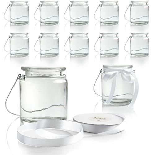 WeddingTree 12 x Windlicht Glas mit Bügel und Dekoband weiß - Teelichtgläser - 9 cm hoch - Einfach Abnehmbarer Metallbügel - Deko für Hochzeit