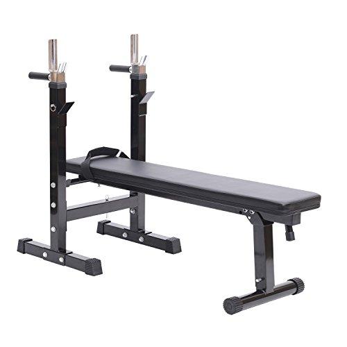 HOMCOM Banco de Pesas Plegable Bancos Musculacion Entrenamiento Maquina Gimnasio Gym Altura Ajustable Carga 150KG