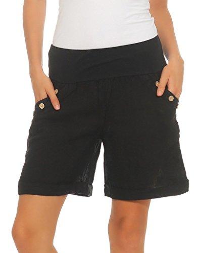 Mississhop 280 Damen Leinenshorts Bermuda lockere Kurze Hose Freizeithose 100% Leinen Shorts mit DREI Knöpfen Sommer Strand Schwarz M