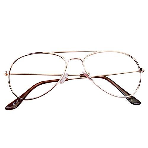 juqilu juqilu Aviator Retro Gläser für Kinder - Jungen und Mädchen Keine Objektive Gläser Metall Brillenfassung Klassisches Brille mit Auto Form Brillenetui