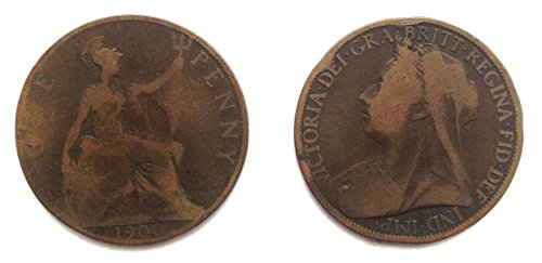 Stampbank Coins for Collectors - Circulated 1900 British Queen Victoria One Penny Coin / Great Britain