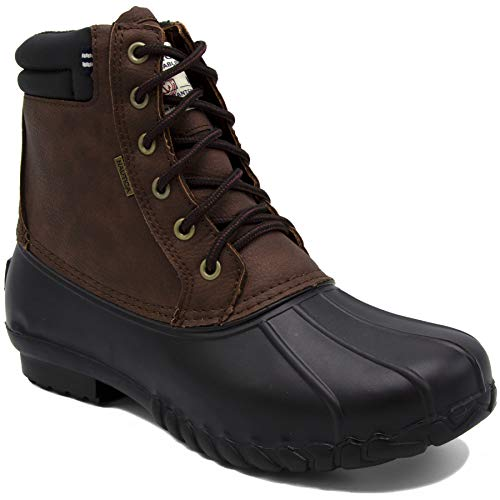 Nautica Mens Duck Boots - Waterproof Shell Insulated Snow Boot - Channing-Brown/Black-9