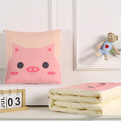 KCCCC Travel Blanket and Pillow Cartoon Digital Printing Pillow Quilt Multifunctional Gift Cushion Quilt Lunch Break Air-conditioning Thin Quilt PremiSoft 2 in 1 Airplane Blanket