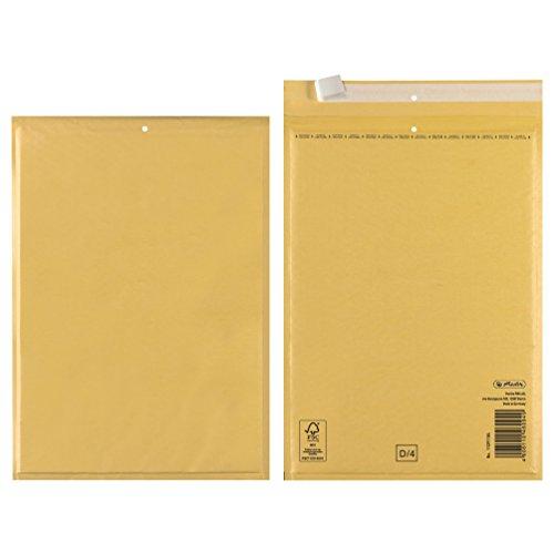 Herlitz Luftpolstertasche D/4, PE-Innenfolie, 3-er Packung, eingeschweißt, 18 x 26 cm, braun