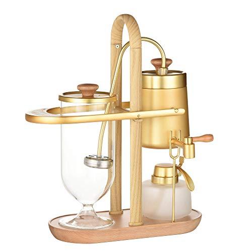 Belgian/Belgium Luxury Royal Balance Syphon Coffee and Tea Maker, Great Siphon Coffee & Tea Brewer, Elegant Wood Texture Fulcrum Natural Wood Base & Lid Knob, Model: Space X, Aureate Golden