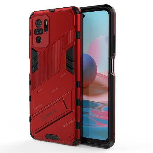 ALAMO Cover Custodia per Xiaomi Redmi Note 10 4G / Note 10S, Case Armor PC+TPU Rugged Antiurto Cover con Cavalletto - Rosso