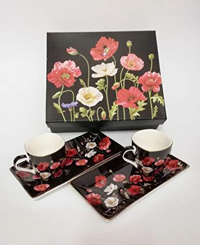 Atelier Harmony Kaffeetassenset Mohnblumen Espressoset schwarz/rot inkl. Geschenkbox Espressotassen Geschenkset