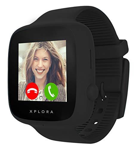 XPLORA GO - Telefon Uhr für Kinder (SIM-frei) - Anrufe, Nachrichten, Schulmodus, SOS-Funktion, GPS-Standort, Kamera und Schrittzähler - 2 Jahr Garantie (SCHWARZ)