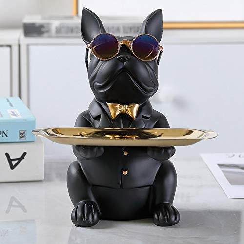 WANGQI Hund Figur Aufbewahrungsbox Statue Harz, Kühle Bulldog Statue Tischdekoration Mode Skulptur Figur Candy Dish Statuen Aufbewahrungsbox Mit Herausnehmbarem Ablagefach