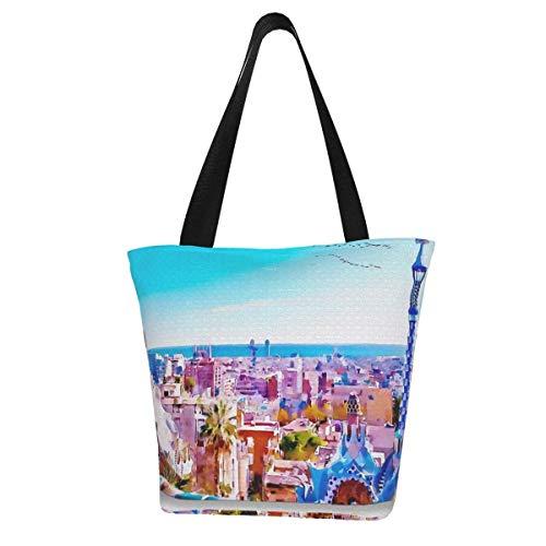 Bolsa de lona personalizable, para pintura de acuarela de Park Güell, lavable, bolsa de hombro, bolsa de compras para mujer