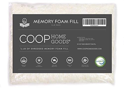COOP HOME GOODS - Adjustable Shredded Memory Foam for Premium Adjustable Pillow - ½ lb - CertiPUR-US Certified