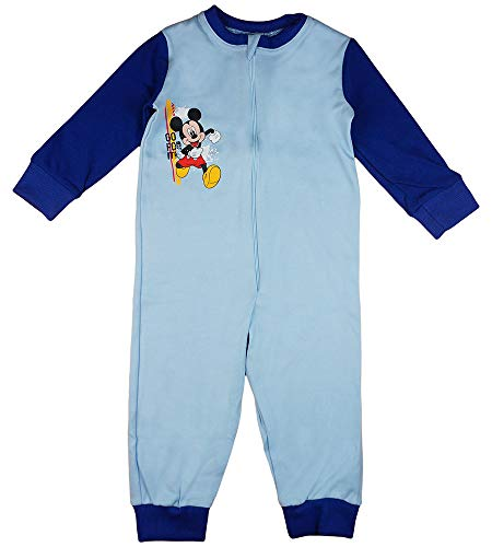 Jungen Schlafoverall Pyjama Einteiler Onesie Schlaf-Anzug Kinder-Strampler-Anzug mit Mickey Mouse von Disney in Größe 92 98 104 110 100% Baumwolle Jumpsuit (Modell 1, 104)